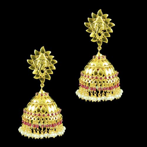 GOLD PLATED JHUMKAS EARRINGS WITH PEARL AND RUBY BEADS
