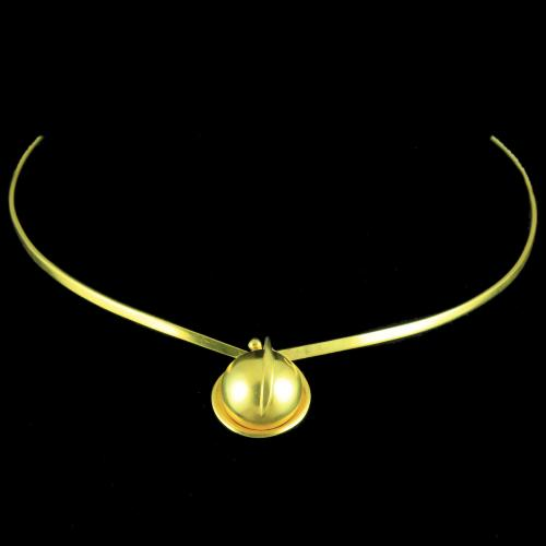 GOLD PLATED PLAIN NECKLACE WITH BALL