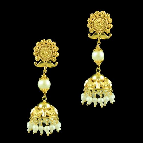 GOLD PLATED FLORAL EARRINGS WITH PEARL BEADS