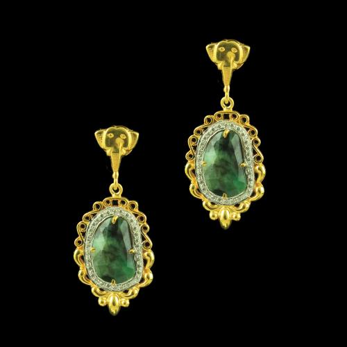 GOLD PLATED CZ EARRINGS WITH AGATE STONE