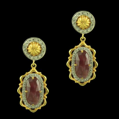GOLD PLATED AGATE AND CZ STONE EARRINGS