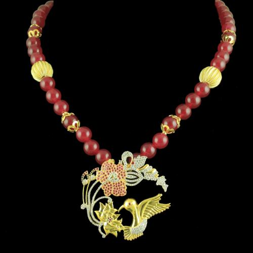 GOLD PLATED CZ NECKLACE WITH RED ONYX BEADS