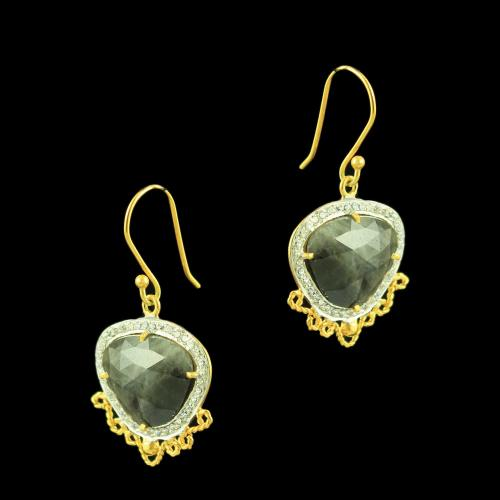 GOLD PLATED AGATE AND CZ STONES EARRINGS