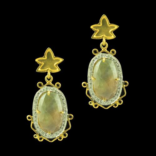 GOLD PLATED AGATE AND CZ EARRINGS