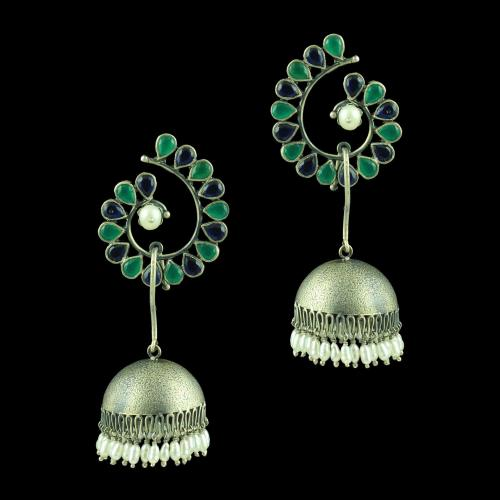OXIDIZED PEACOCK EARRINGS WITH EMERALD BLUE SAPPHIRE AND PEARLS