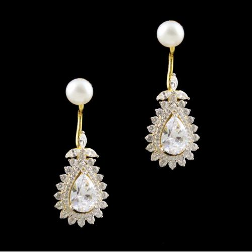GOLD PLATED CZ EARRINGS WITH PEARL
