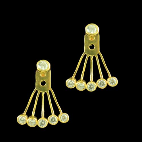 GOLD PLATED FLORAL CZ EARRINGS