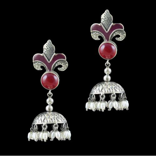 OXIDIZED SILVER ONYX AND PEARL JHUMKA EARRINGS