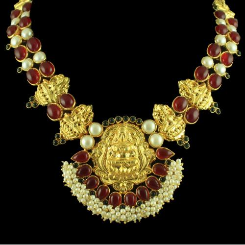 GOLD PLATED ONYX AND PEARL LAKSHMI NECKLACE