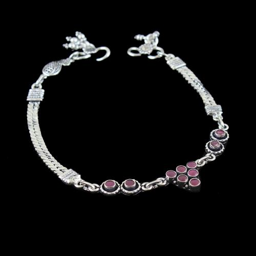 OXIDIZED SILVER RUBY FLORAL ANKLET