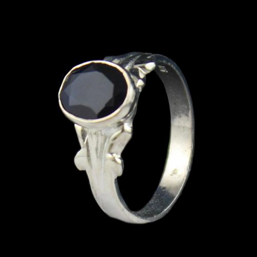 SILVER BLACK SPINEL RING