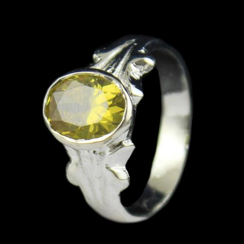 SILVER YELLOW TOPAZ RING