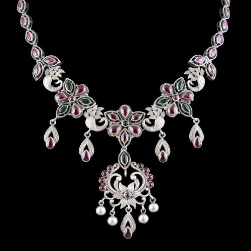 OXIDIZED SILVER RUBY AND EMERALD NECKLACE