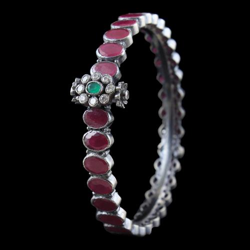SILVER OXIDIZED RUBY BANGLE WITH CZ AND EMERALD