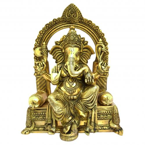BRASS GANESHA SITTING ON CHOWKI