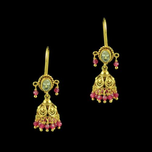 GOLD PLATED HANGING JHUMKAS WITH CZ AND RUBY