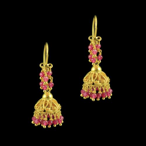GOLD PLATED HANGING JHUMKAS WITH RUBY