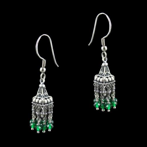 OXIDIZED SILVER JHUMKA WITH EMERALD