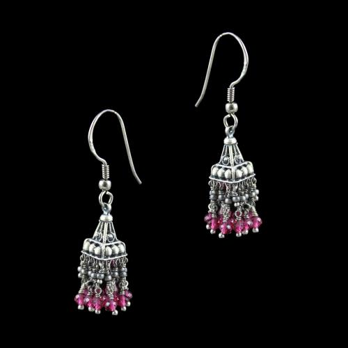 OXIDIZED SILVER JHUMKA WITH GARNET BEADS