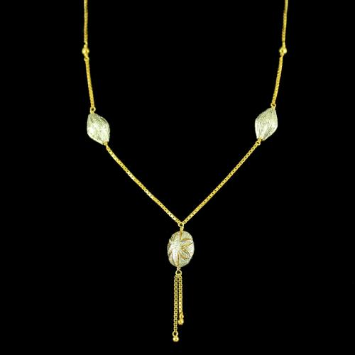 GOLD PLATED FANCY NECKLACE WITH CZ STONES