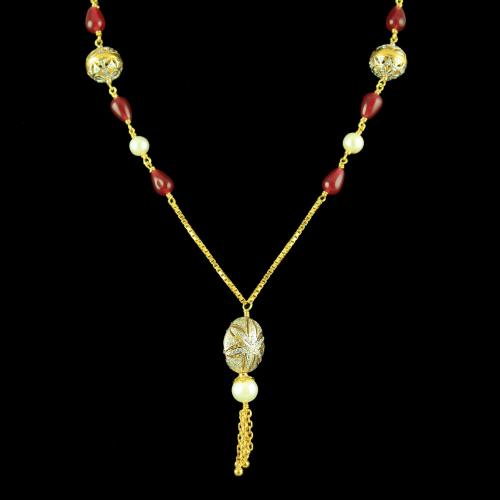GOLD PLATED CZ NECKLACE WITH PEARL AND RUBY BEADS