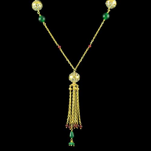 GOLD PLATED CZ NECKLACE WITH EMERALD AND RUBY BEADS