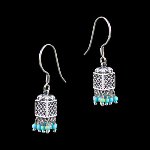 OXIDIZED SILVER JHUMKA WITH TURQUOISE BEADS