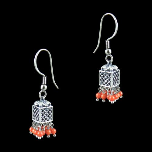 OXIDIZED SILVER JHUMKA WITH CORAL BEADS