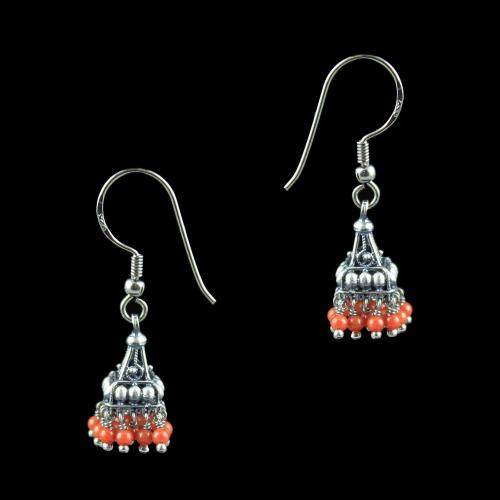 OXIDIZED SILVER JHUMKA WITH SAPPHIRE BEADS