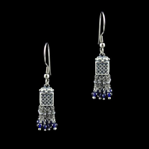 OXIDIZED SILVER JHUMKA WITH PEARL BEADS