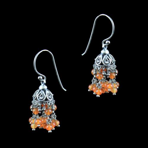 OXIDIZED SILVER HANGING JHUMKA WITH CORAL BEADS