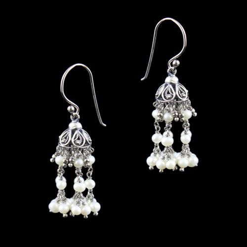 OXIDIZED SILVER HANGING JHUMKA WITH PEARL BEADS