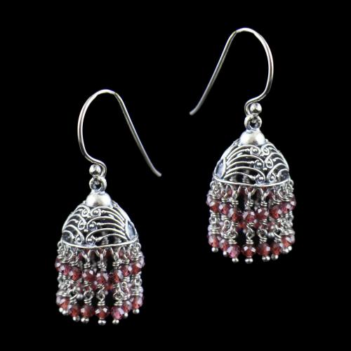 OXIDIZED SILVER HANGING JHUMKA WITH GARNET BEADS