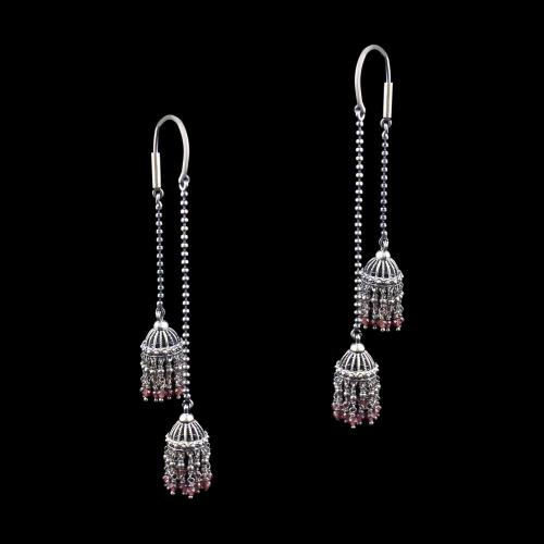 OXIDIZED SILVER HANGING JHUMKA WITH SAPPHIRE BEADS