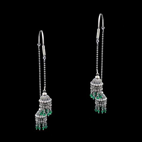 OXIDIZED SILVER HANGING JHUMKA WITH GREEN HYDRO BEADS