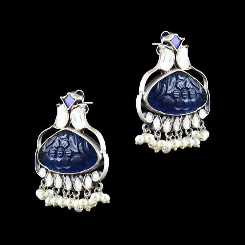 OXIDIZED SILVER KUNDAN AND HYDRO STONES EARRINGS WITH PEARLS