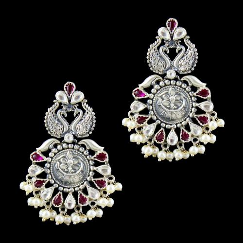OXIDIZED SILVER KUNDAN AND PEARL FLORAL EARRINGS