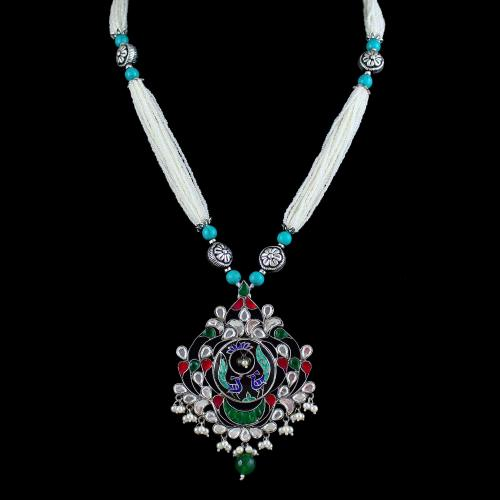 OXIDIZED SILVER KUNDAN NECKLACE WITH PEARLS
