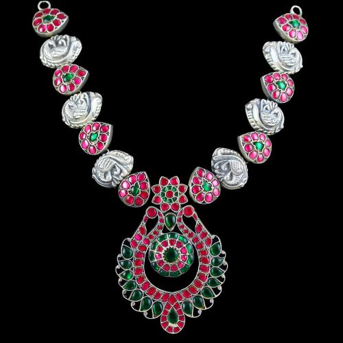 OXIDIZED SILVER KUNDAN STONES WITH PEACOCK NECKLACE