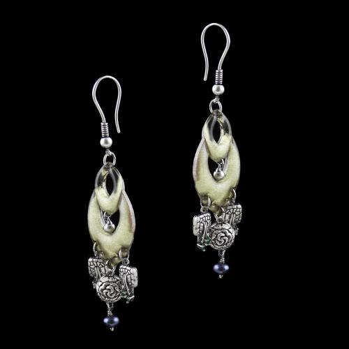 OXIDEZED SILVER HANGING EARRINGS WITH CRYSTAL AND BLACK PEARLS