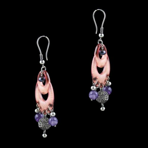 OXIDEZED SILVER HANGING EARRINGS WITH CRYSTAL AND PURPLE QUARTZ