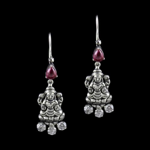OXIDEZED SILVER HANGING EARRINGS WITH RED ONYX AND CZ STONES