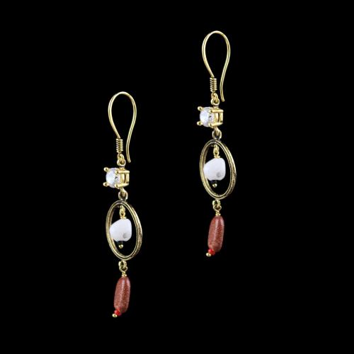 GOLD PLATED HANGING EARRINGS WITH CZ AND JASPER BEADS