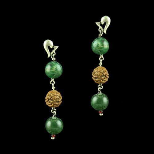 OXIDIZED SILVER EARRINGS WITH RUDRAKSHA AND MALACHITE BEADS