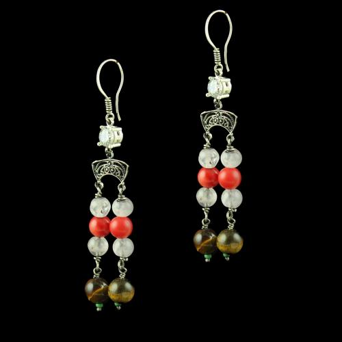 OXIDEZED SILVER HANGING EARRINGS WITH MULTI COLOR STONES