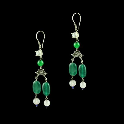 OXIDEZED SILVER HANGING EARRINGS WITH CZ AND MALACHITE BEADS