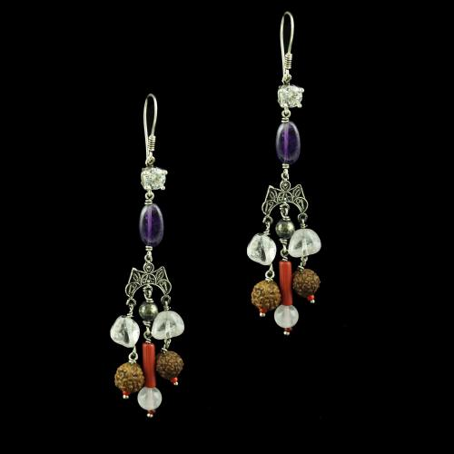 OXIDIZED SILVER HANGING EARRINGS WITH RUDRAKSHA AND QUARTZ BEADS