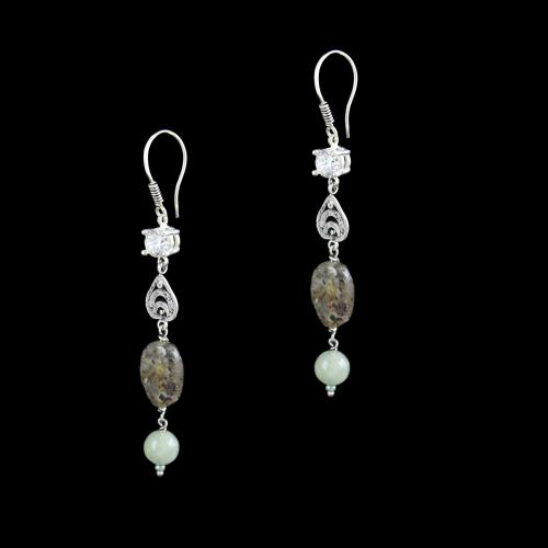 OXIDIZED SILVER HANGING EARRINGS WITH CZ AND QUARTZ BEADS