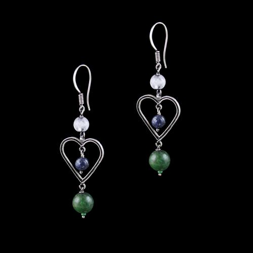 OXIDIZED SILVER HANGING EARRINGS WITH QUARTZ AND MALACHITE BEADS