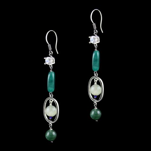 OXIDIZED SILVER HANGING EARRINGS WITH CZ AND MALACHITE BEADS